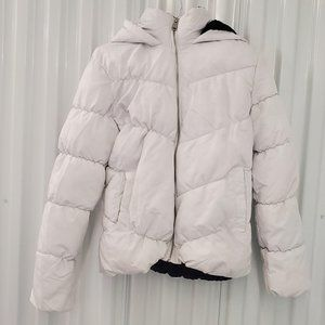Pink Platinum Puffer Coat with hood